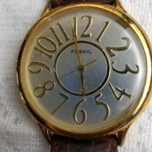 Fossil womans watch, large face, and numbers